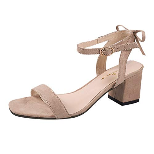 (Sunhusing Womens Casual Thick with High Heel Sandals with A Strap Buckle Solid Color Square Heels Sandals Khaki)