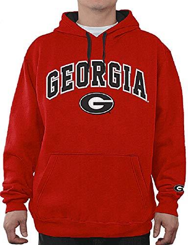 E5 NCAA Men's Tackle Twill Logo College Classic Hoodie Sweatshirt (X-Large, Georgia Bulldogs Red) ()