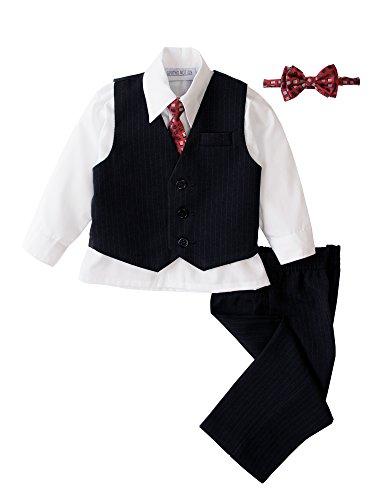 oys' 5 Piece Pinstriped Vest Set White 6 Months ()