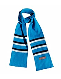 Kids Winter Scarf for School Boys Girls - Soft Long with Stripes by Wee Dreamers (blue)