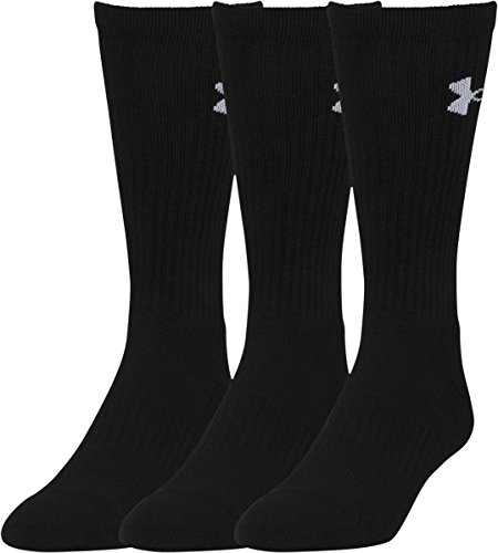 Under Armour Men's Elevated Performance Crew Socks (3 Pack), Black, (3 Pack Crew Socks)