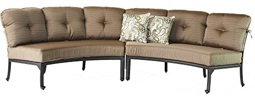Elizabeth Cast Aluminum Powder Coated 2pc Curved Sofa Set – Includes Seat & Back Cushions – Antique Bronze Finish Review