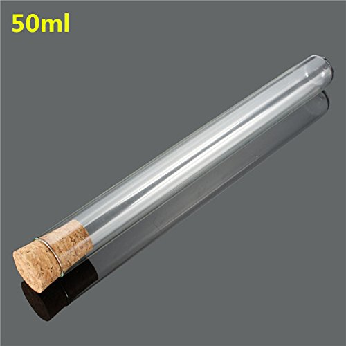 Focalwanna 10Pcs Lab Glass Test Tube Set With Cork Stopper 50ml