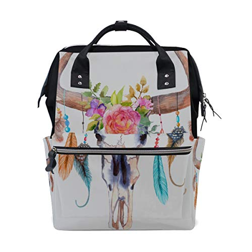 (Bull Head Skull with Flowers Large Capacity Diaper Bags Mummy Backpack Multi Functions Nappy Nursing Bag Tote Handbag for Children Baby Care Travel Daily Women)