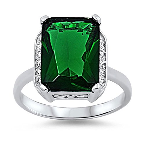 Cocktail Radiant Ring - Blue Apple Co. Halo Cocktail Wedding Engagement Ring Radiant Cut Simulated Emerald Round CZ 925 Sterling Silver