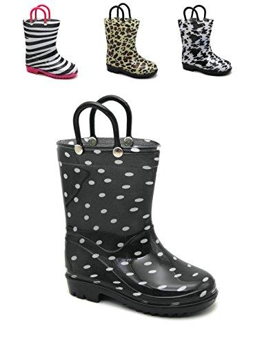 Storm Kidz Kids Girls Printed Rainboots, Polka Dots Toddler 7