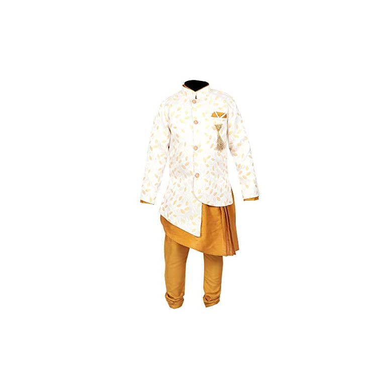 41iNp6O4OiL. SS768  - Ahhaaaa Kids Ethnic Wear Kurta Pyjama Waistcoat Set For Boys