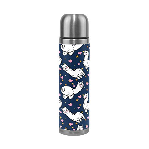 QQMARKET Alpacas Pink Heart Star Double Wall Vacuum Cup Insulated Stainless Steel PU Leather Travel Mug Bottle, Cartoon Animal Blue Christmas Birthday Gifts for Mom Dad Boys Girls Kids Lover Fr by QQMARKET