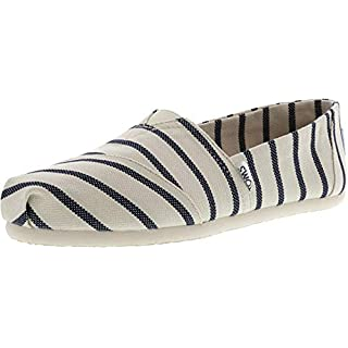 TOMS Women's White/Navy Riviera Stripe 10011860 (Size: 7)