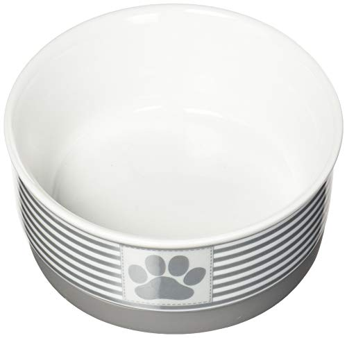 Heavy Ceramic (DII Bone Dry Paw Patch & Stripes Ceramic Pet Bowl for Food & Water with Non-Skid Silicone Rim for Dogs and Cats (Small - 4.25