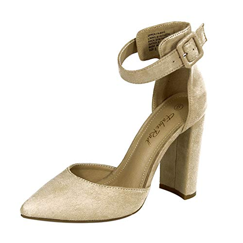 - Fabee Rad Non-Slip Chunky Block Heels Solid Suede Pointed Toe Pumps with Buckled Ankle Band Bridal Wedding Party Shoes