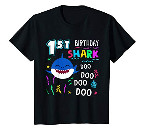Kids Happy 1st Birthday Shark Doo Doo 1 Years Old T-Shirt Gift]()