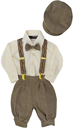 Gino Giovanni G284 Baby Boys Vintage Knickers Outfit Suspenders Set (5, Natural) -