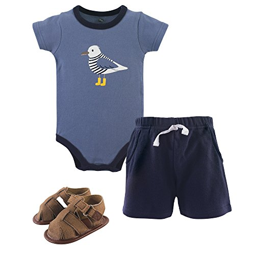 (Hudson Baby Unisex Baby Bodysuit, Bottoms and Shoes, Seagull 3-Piece Set, 0-3 Months)