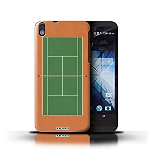 KOBALT? Protective Hard Back Phone Case / Cover for HTC Desire 816   Green Clay Court Design   Tennis Courts Collection