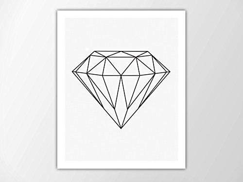 Amazon.com: Geometric Diamond Print, Minimalist Wall Art, Modern Art ...