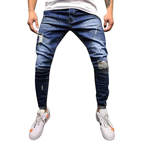 Beautyfine Men's Jeans Pants Autumn Denim Cotton Straight Hole Pocket Casual Distressed Trousers -