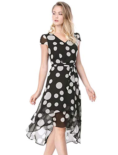 Allegra K Women's Polka Dot V Neck High Low Hem Belted Chiffon Dress S Black