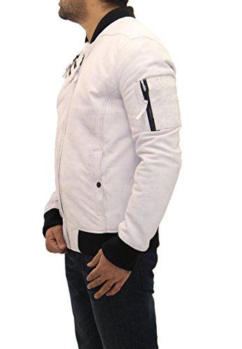 Baseball Stile Bianco Bianca Bombardiere Elegante Giacca 70s Varsity Casual Di Uomo Pelle BATInn