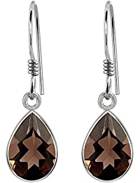 Smoky Quartz Gemstone 925 Sterling Silver Pear Drop Earrings For Women's And Girls, Genuine Gemstone, Handcrafted...