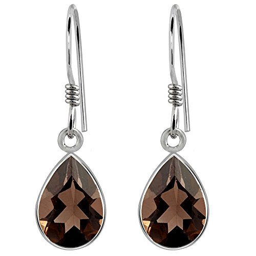 (Smoky Quartz Gemstone 925 Sterling Silver Pear Drop Earrings For Women's And Girls, Genuine Gemstone, Handcrafted, Best Gift For Any Occasion, Free Gift Box (10x7 MM, 3.43 Cttw))