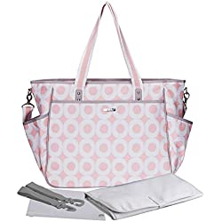Bellotte Diaper Bags - Cute Tote - Matching Baby Changing Pad (Light Pink)