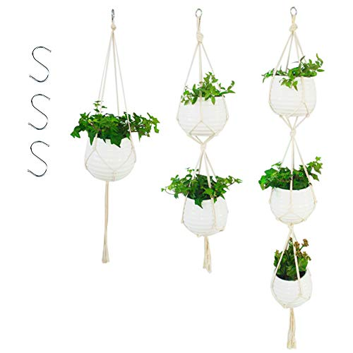 3pcs Macrame Plant Hanger Outdoor Indoor Cotton Rope Wall Hanging Planter Holder with Hooks Flower Pots Home Boho Decoration (3) ()