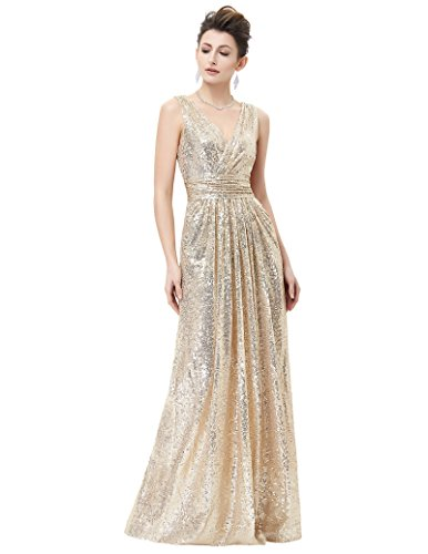 Kate Kasin Women Banquet Sequin Dress Low Cut Back Zip Up Dress for Formal Party Light Gold Size 8 KK199