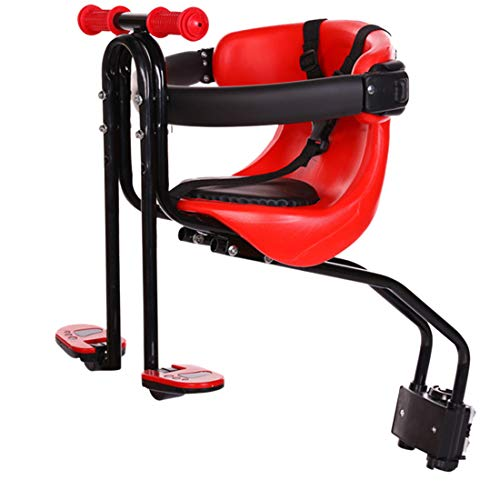 IT IF IT Child Bicycle Seat Removable Front Seat Child Seat Pedal with Handle and Fence for Men and Women Bikes Red