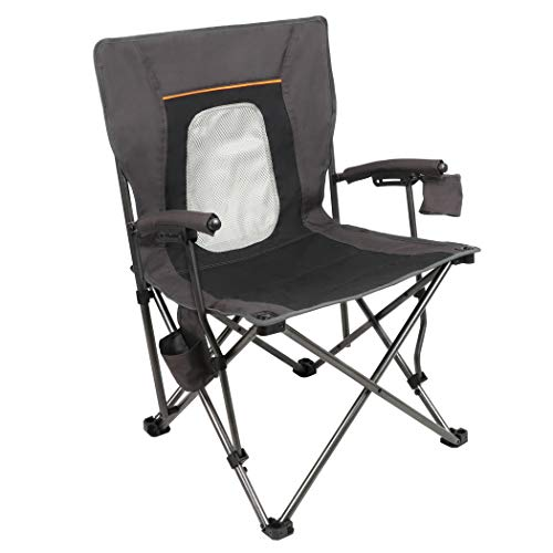 PORTAL Camping Chair Folding Portable Quad Mesh Back with Cup Holder Pocket and Hard Armrest, Supports 300 Lbs, Black, Regular