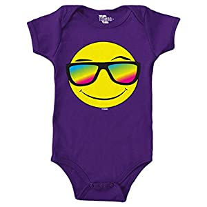 Tcombo Smiley Face With Neon Sunglasses Bodysuit (Purple, 12 Months)