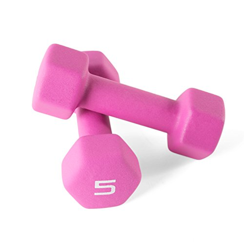 (CAP Barbell Neoprene Coated Dumbbell Weights (Pair), 5 lb/Small )