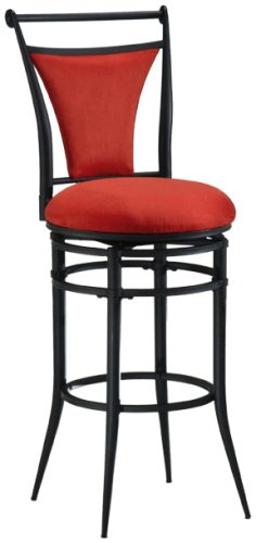 Hillsdale Cierra 26-Inch Swivel Counter Stool, Black finish with Flame Faux-Suede (Black Microfiber Suede Bar Stool)