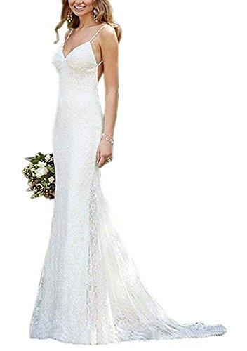 Jdress Women's Mermaid Spaghetti Straps Backless Beach Wedding Dress Bride (Bride Spaghetti)