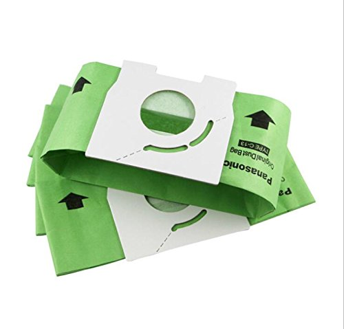 Type C-13 Dust Filter Bags for Panasonic 2 Layers of Paper High Filteraton Paper Bag for Panasonic MC-291 MC-CG321 MC-E3300 MC-CA591 Replace Part #AMC-S5EP 5 Bags (5 Paper Dust Bags)