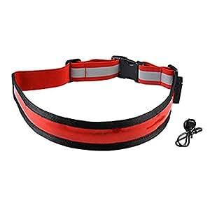 Lanlan Cinturón de luz de Seguridad con Flash LED Recargable USB para Corredor Accesorios Deportivos Rojo