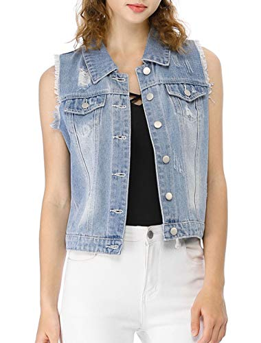 (Allegra K Women's Turn Down Collar Button Closure Denim Washed Vest Light Blue XL (US 18))