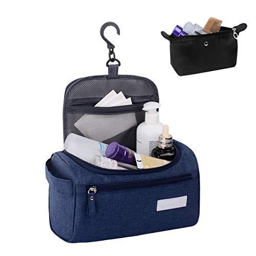 Toiletry Organizer Wash Bag, Kemladio travel bathroom shower bag/makeup bag/grooming bag Hanging Dopp Kit Travel with Hook for Men and Woman (Blue)