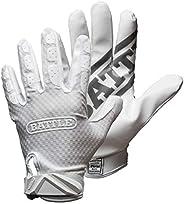 Battle Triple Threat Youth Receiver Gloves - White, Medium