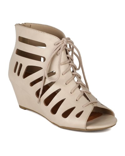 City Classified AI61 Women Leatherette Lace Up Open Toe Cutout Caged Sandal Wedge - Skin (Size: 8.5)