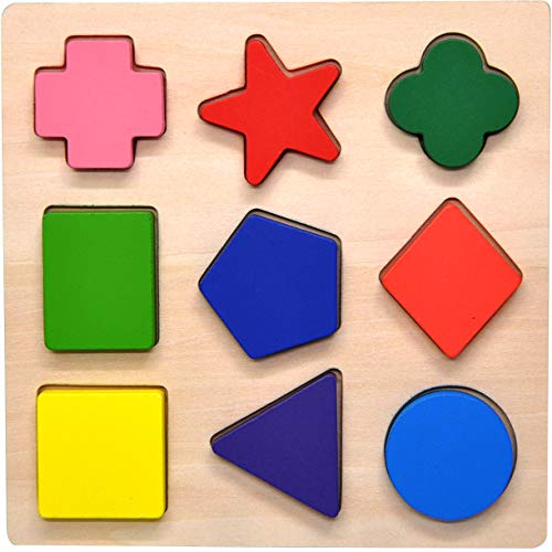 GYBBER&MUMU Wooden Preschool Colorful Shape Puzzle Toddler Educational Learning Toys for Age 0.5+]()