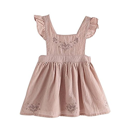 KONIGHT Baby Girls Embroidered Ruffle Sleeveless Pinafore Dress Toddler Kids Country Rustic Outfit (Light Pink, 3 Years)