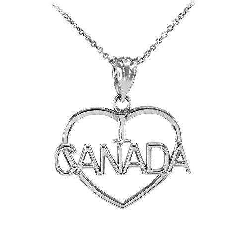 Collier Femme Pendentif 14 Ct Or Blanc Ouvert Cœur Forme I Love Canada (Livré avec une 45cm Chaîne)