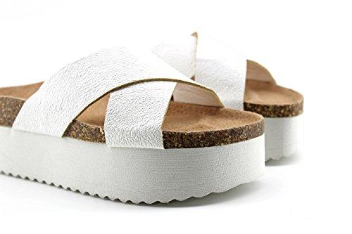 Modelisa - Sandalia Destanolada Plataforma Mujer Blanco