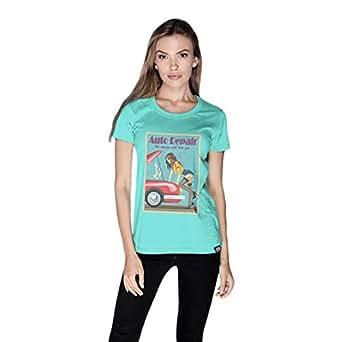 Creo Auto Repair Beach T-Shirt For Women - L, Green