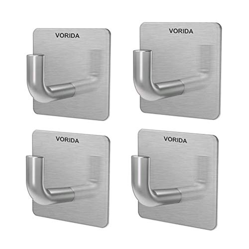 Vorida Adhesive Hooks Heavy Duty Wall Hook Waterproof Stainless Steel Hook Sticky Wall Hanger Hanging for Kitchen Bathroom Home Towel, Robe, Coat, Bags, Lights, Calendars (Adhesive Hooks-4 Pieces)