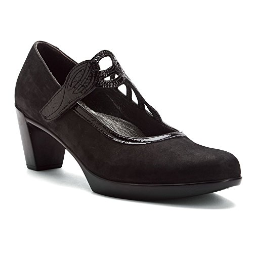 NAOT Women's Luma Dress Pump, Black Velvet Nubuck/Black Crinkle Patent, 39 EU/7.5-8 M (Crinkle Patent Footwear)