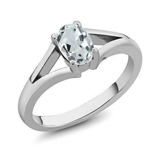 - 0.72 Ct Oval Sky Blue Aquamarine 925 Sterling Silver Women's Ring (Size 6)