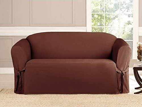 Kashi Micro-suede Slipcover Sofa Loveseat Chair Furniture Cover (Love Seat,  Brown)
