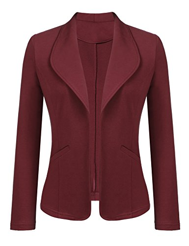Dealwell Women's Open Front Stretch Cotton Soft Blazer Cardigan Jacket Wine Red Large